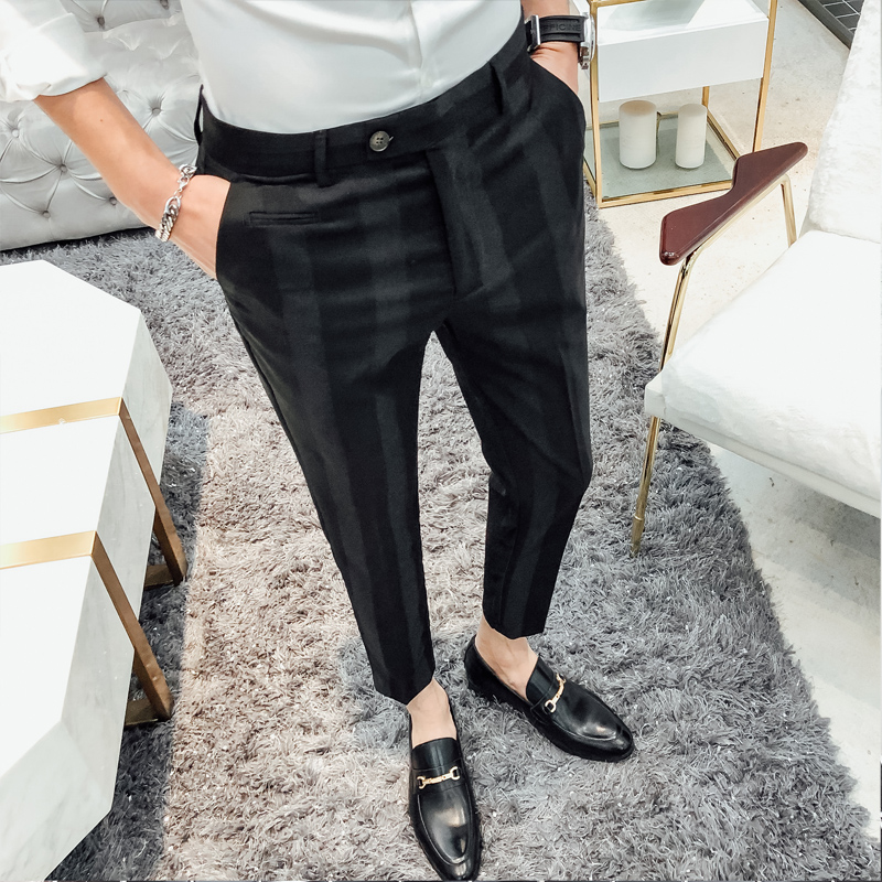 Brand New Pants Men Fashion Gentlemen Striped Casual Social Dress Suit Pant Hot Sale Slim Fit Trousers Men Clothes Mens Trousers