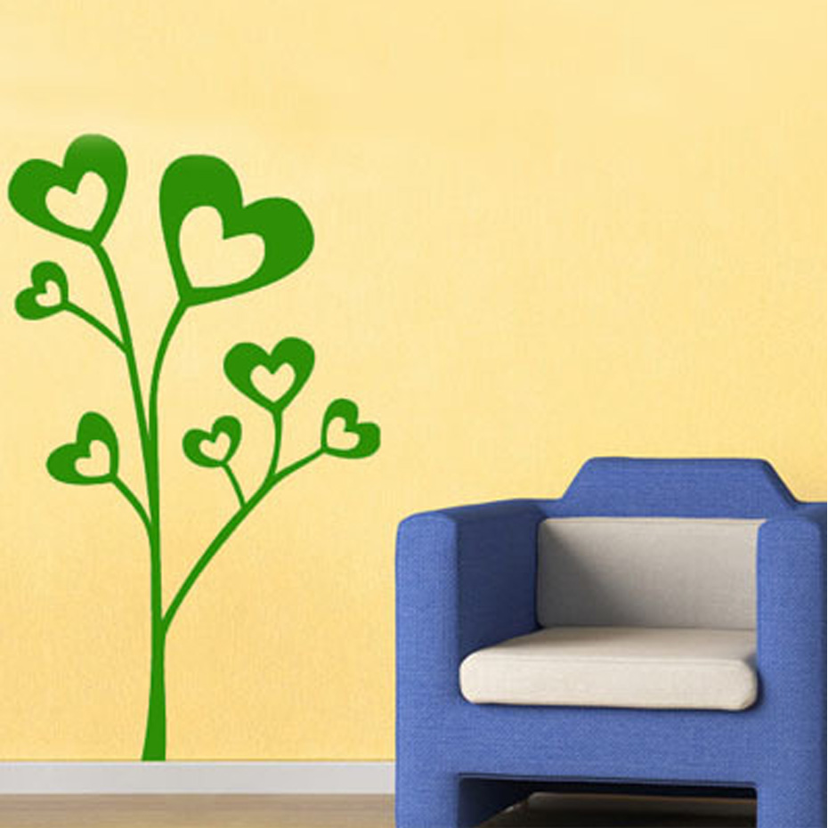 Hot Sale Item Lovely Heart Shaped Leaves Tree Wall Sticker Home ...