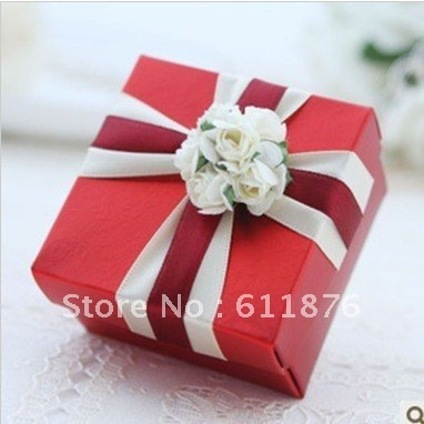 candy box , red gift box with artificial flower ribbon decoration, H22, gift package, wedding favors, free shipping