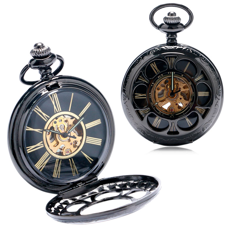 Black Hollow Case With Golden Roman Number Skeleton Dial Hand-wind Mechanical Steampunk Pocket Watch Gift For Men Women