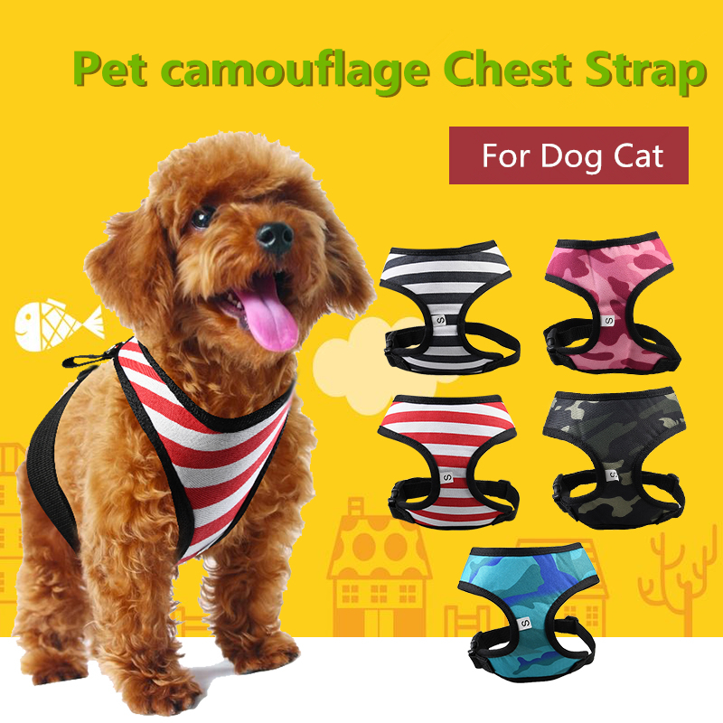 A48 1PC Adjustable Soft Breathable Dog Harness Cut Camo Mesh Vest Harness for Dogs Puppy Collar Cat Pet Dog Chest Strap Leash