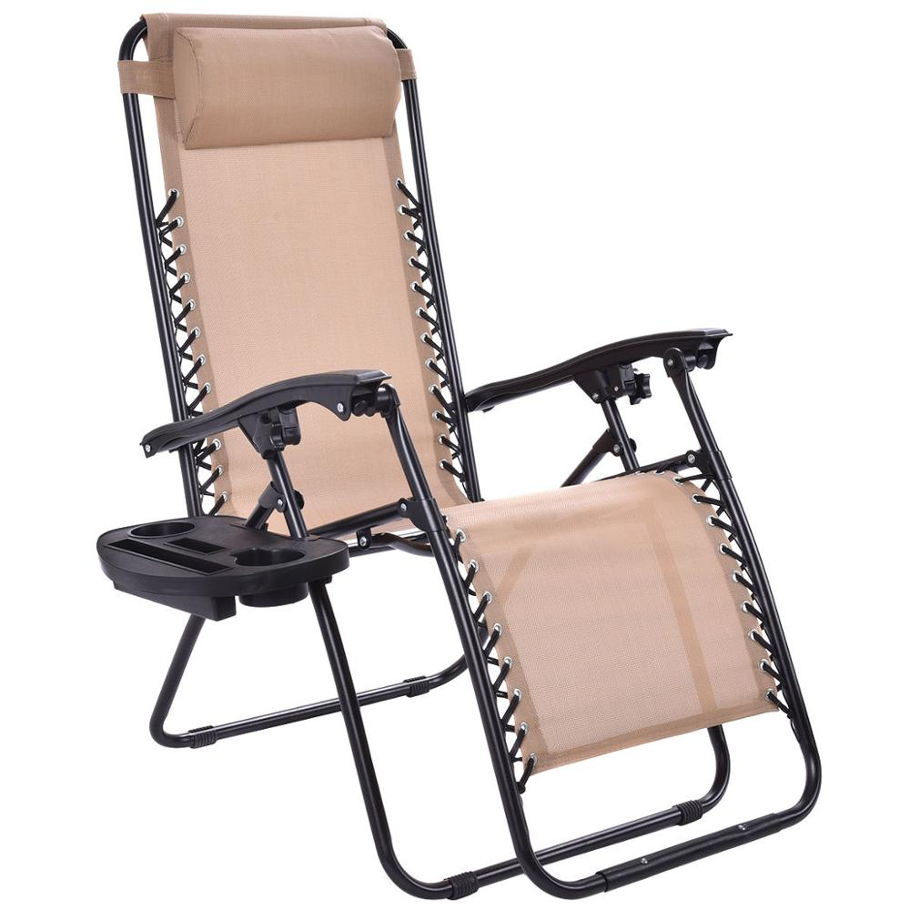 Zero Gravity Chair Recliner Folding Zero Gravity Lawn Chair Reclining Lounge Outdoor Picnic Camping Sunbath Beach Chair With Utility Tray