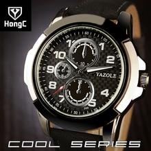 HongC Marca de Lujo de Cuarzo Reloj de Los Hombres de Negocios Casual Saaquartz Fecha Reloj Del Deporte de Hombres Reloj de Pulsera Correa de Cuero relojes de pulsera