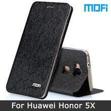 Honor 5X чехол оригинальный бренд Mofi Huawei Honor 5X Чехол подставка держатель флип кожаный чехол + ТПУ мягкий чехол для Huawei 5x случаях 5.5″