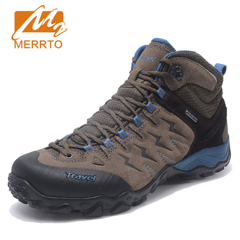 MERRTO Mens Winter Genuine Leather Shoes Outdoor Hiking Trekking Boots Sport Shoes Sneakers For Men Climbing Mountain Boots Man kerzer outdoor shoes men autumn winter hiking boots slip on trekking shoes leather mountain climbing sneakers