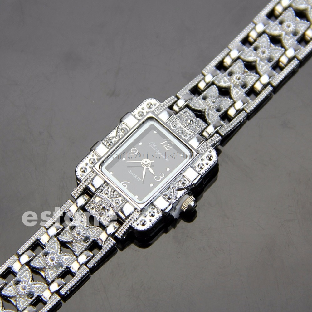 Fashion Women Lady Girl Bracelet Quartz Wrist Watch Silver Butterfly Black Dial
