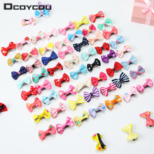 цена на 20PCS Mix Color Mini Bow Barrettes Sweet Girls Solid Dot Stripe Hair Clips Kids Hairpins Hair Accessories for Women Girls