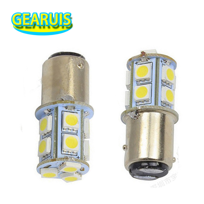 100X Auto led lamp S25 BAY15D 1157 13 smd 5050 13SMD 3 chips car led tail