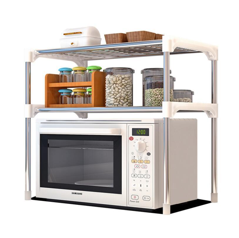 2-Tier Multi-functional Kitchen Storage Shelf Table Rack Microwave Oven Shelving Unit 2-Tier Bathroom Book Shelf  CF-128