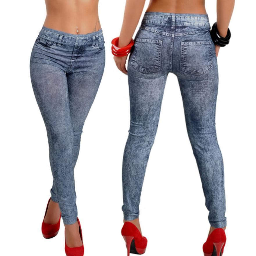 Womens Denim Snowflake Skinny Stretch Sexy Pants Soft Tights Leggings  woman jeans 2018  7.11
