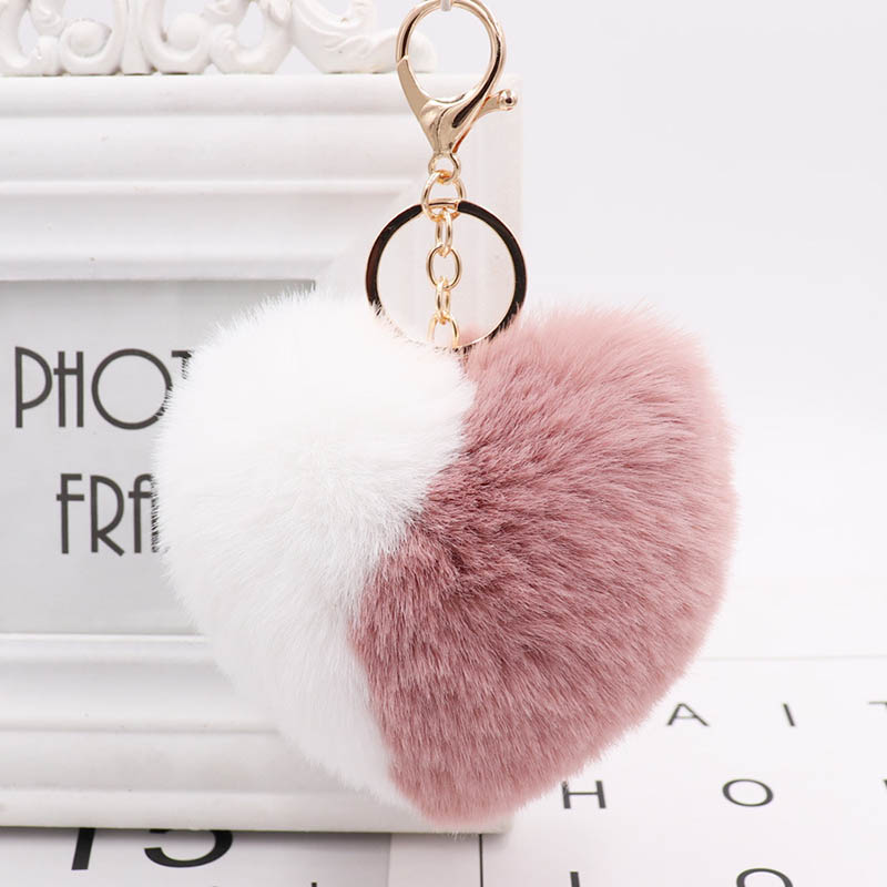 Love Heart <font><b>Pompom</b></font> Ball Keychains for Women Purse Bag Charm Pendant Car <font><b>Key</b></font> <font><b>Ring</b></font> Chain @M23 image