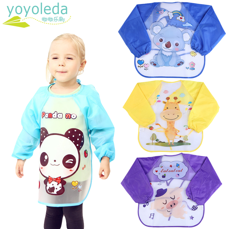 Baby Child Bibs Apron Waterproof Eva Kids Cute Feeding Burp Cloths Long Sleeves