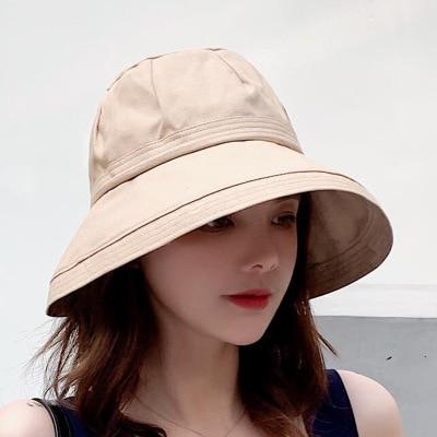 Solid Color Cotton Sun Hats Wide Brim Bob Cap Casual Women Fishing Caps Cotton Bucket Hat Lady Fisherman Hat
