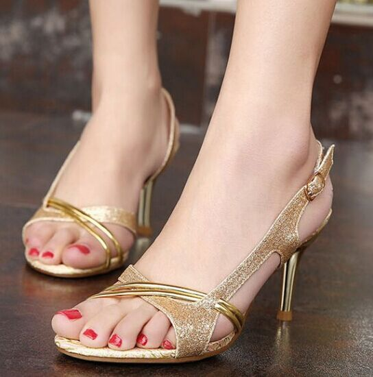 Size 4 8 Golden High Heel Shoes Wedding Party font b Women b font Shoes font