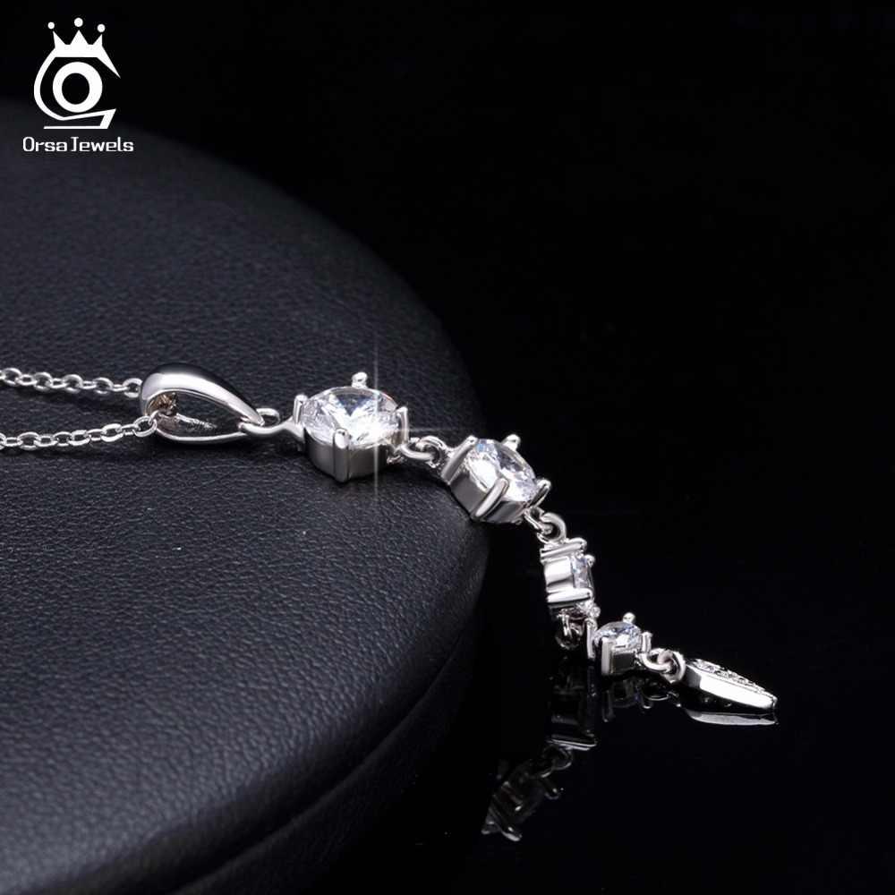 ORSA JEWELS Этническая 925 пробы серебро длинный листик Форма Подвески для женщин ювелирные украшения девушка женский свадебный подарок SN76