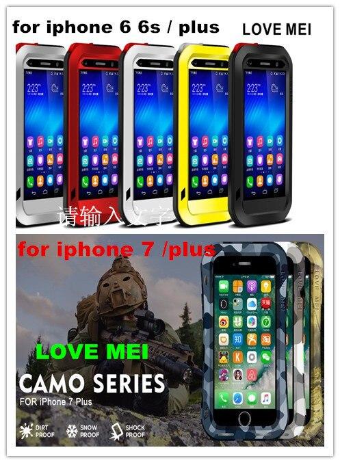 imágenes para Amor de la original mei potente para apple iphone 7 7 plus 6 6 s más Impermeable A Prueba de Golpes Cubierta de la Caja De Aluminio + Vidrio Templado
