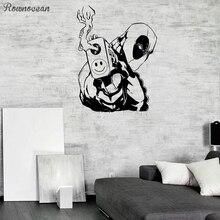 Deadpool Wall decal Superhero Animated Decal Comics Interior Decor Boys Room Stickers Vinyl Mural Action Film Fans SP24