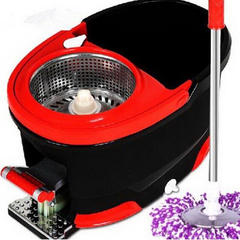 150601/Vivere casa strumenti di pulizia a prova di Esplosione In acciaio inox magic Spin Mop doppia rotazione mop rotante a 360 Gradi secchio
