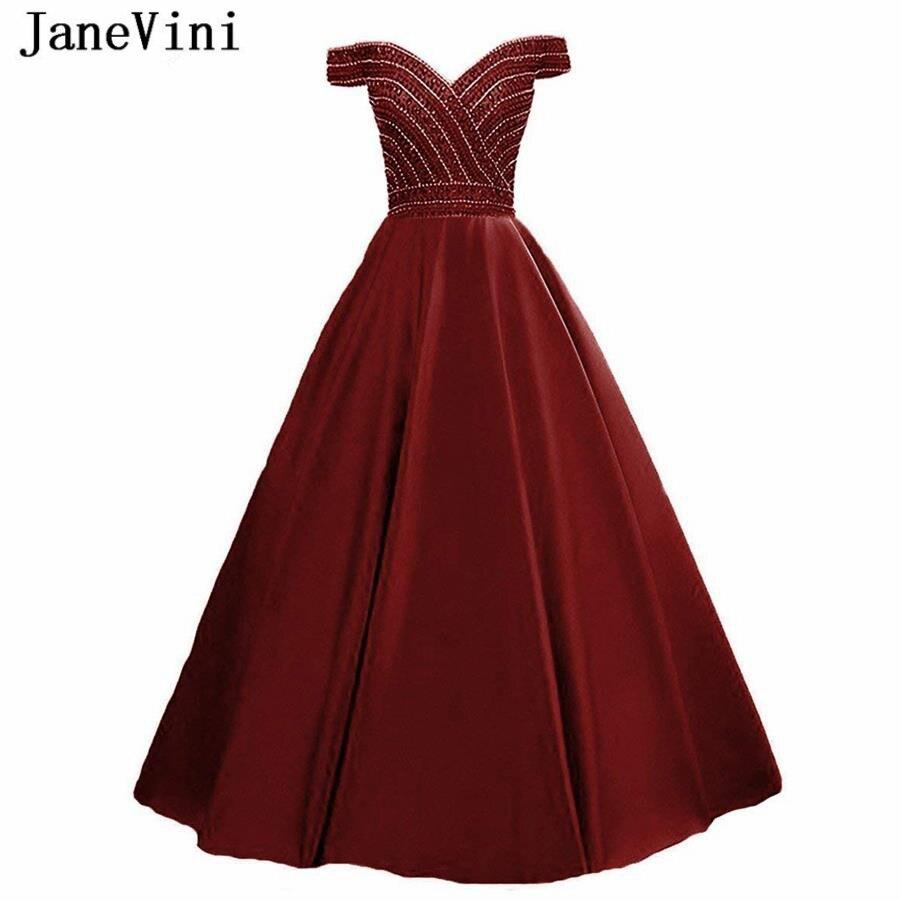 JaneVini Elegant Satin Burgundy   Prom     Dresses   Long V Neck Luxury Beaded Backless A Line   Prom     Dress   Woman Floor Length Galajurken