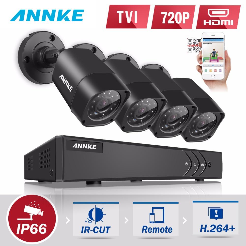 ANNKE 4CH 720 P HD CCTV Системы 1080N видеорегистратор с 720 P ИК Открытый безопасности Камера 4 каналах домашнего видео комплект видеонаблюдения оповеще...