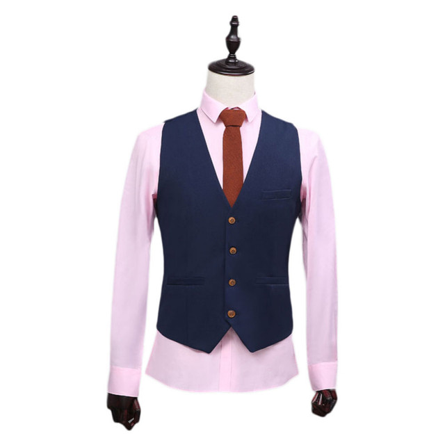 2017 Custom Made Navy Blue Waistcoat Classic Best Man Vest Wedding Vest 4 Button 3 Pocket Bridegroom Business Party Vest