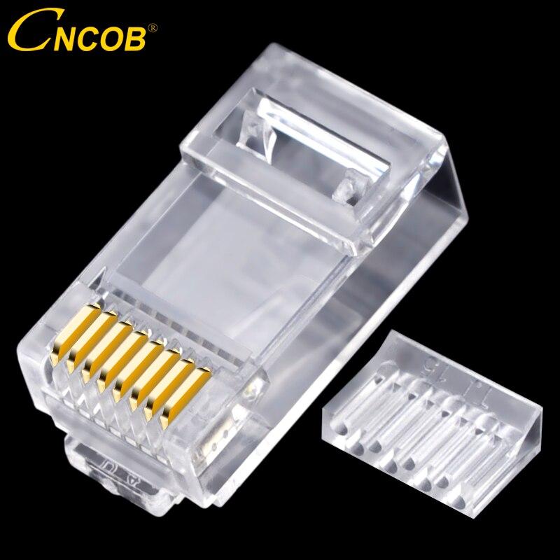 Cncob Cat6 deux-pièces, rj45 connecteur réseau RJ-45 réseau câble modulaire plug mille M Ethernet 8p8c tête en cristal plaqué or