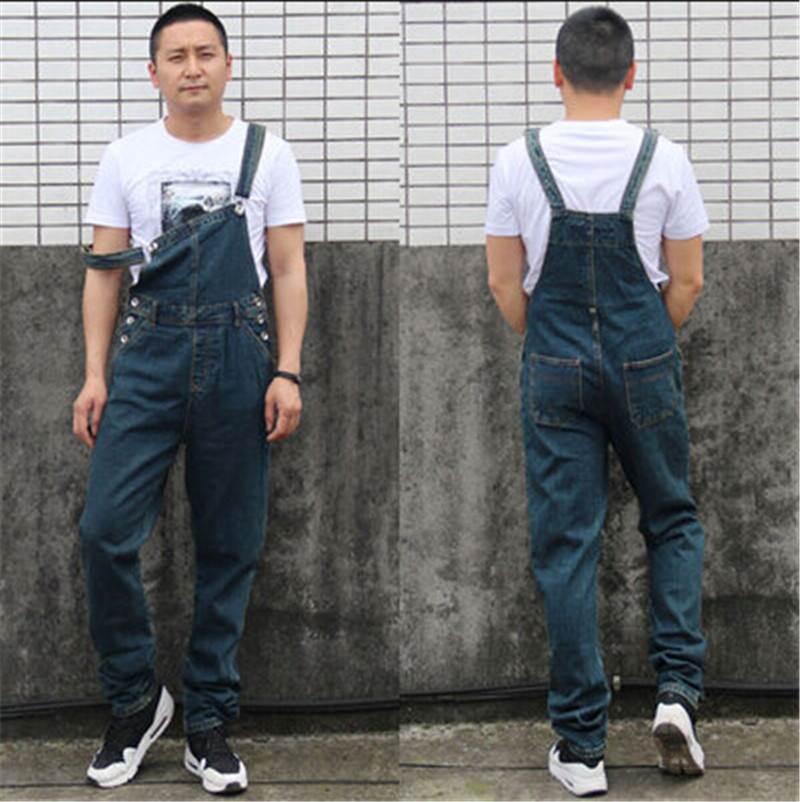 New Fashion Men Jeans Blue Plus Size Casual Loose Overalls Baggy Denim Pants Pockets Long Trousers Straight Jumpsuit For Men 2016 new fashion men vintage trousers casual jeans pants loose plus size 28 42 overalls overalls denim jumpsuit