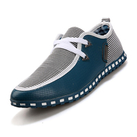 Mens Canvas Smart Casual Lace Slip On Loafer Moccasins Woven Driving Shoes White Grey