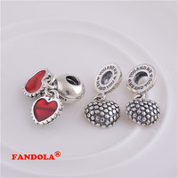 Fits for Pandora Charms Bracelets Mother and Daughter Beads with Red Enamel 925 Sterling Silver Jewelry Free Shipping