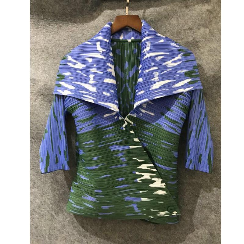 Changpleat 2019 Spring New printed Women   Basics     Jackets   coat Miyak Pleated Fashion Design Slim Single Button Female Coats Tide