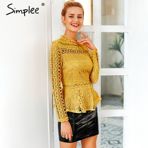 Image 3 - Simplee Elegant lace hollow out peplum blouse shirt women Ruffles long sleeve white blouse female Autumn winter tops office lady