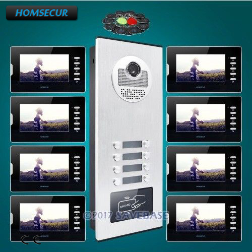 HOMSECUR 7 Multi Apartment Video Door Entry Intercom Kit+Dual-way Intercom