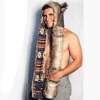 2016 אפור חדש ברדסי דוב חמוד בעלי החיים פו כובע פרווה שווי החם mens אופנה כובעי פרווה בעלי חיים עם כפפות