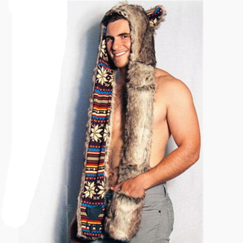 2016 new grey bear hoods cute animal faux fur hat cap mens fashion warm animal fur