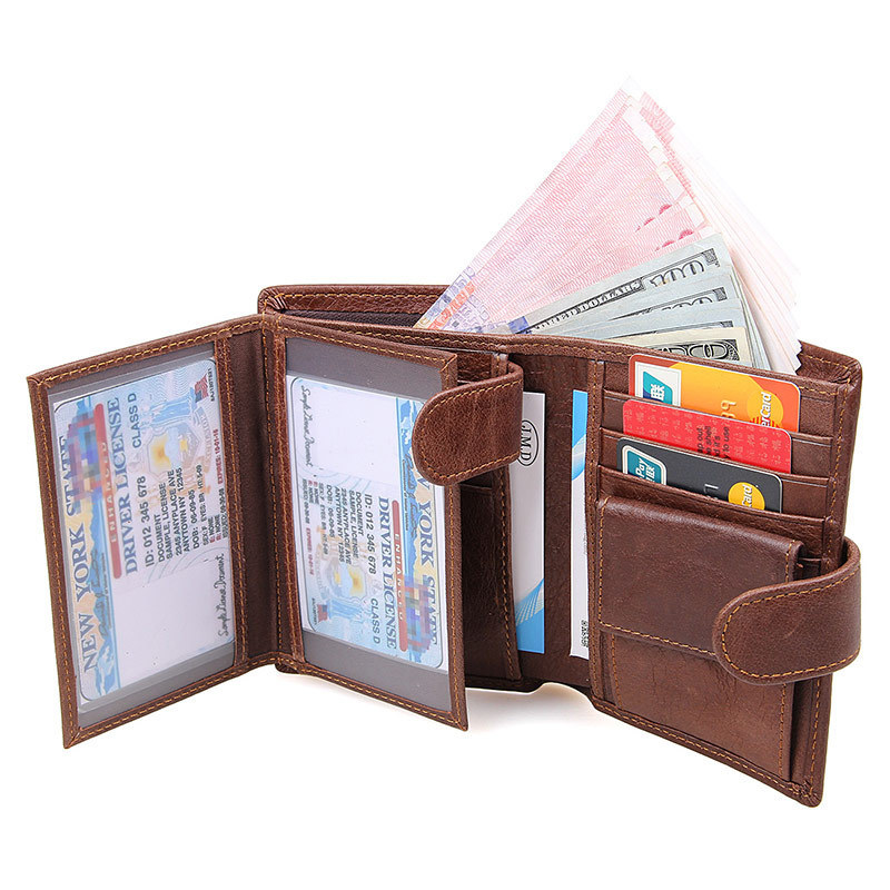 Brand Genuine Cow Leather Men Women Wallet Fashion Coin Pocket Trifold Design Men Purse High Quality Ladies Card ID Holder