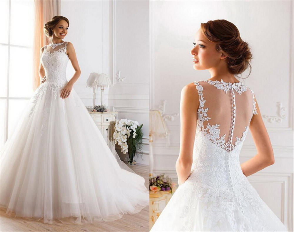 9036 2016 Lace White Ivory A Line Wedding Dresses For