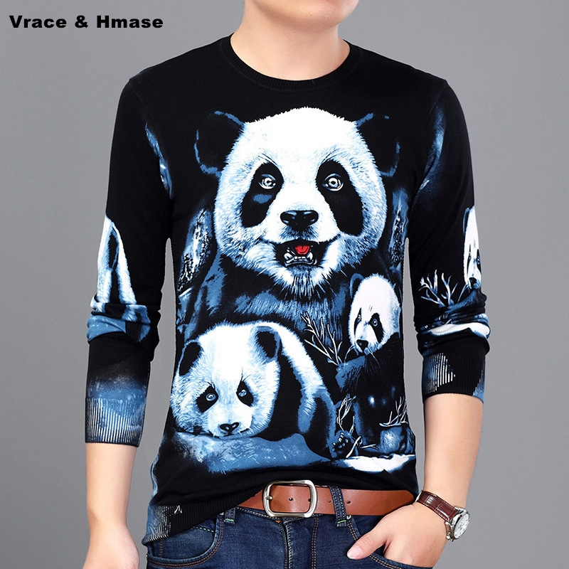 Chinese Style 3D Panda Pattern Printing Fashion Casual Knitted Sweater Autumn 2017 Soft Soft And Silky Quality Sweater Men M-3XL