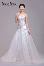 Real Photos Strapless Embroidery A-Line Wedding Dresses with Pleats Sleeveless Chapel Train Floor-Length Bridal Gowns