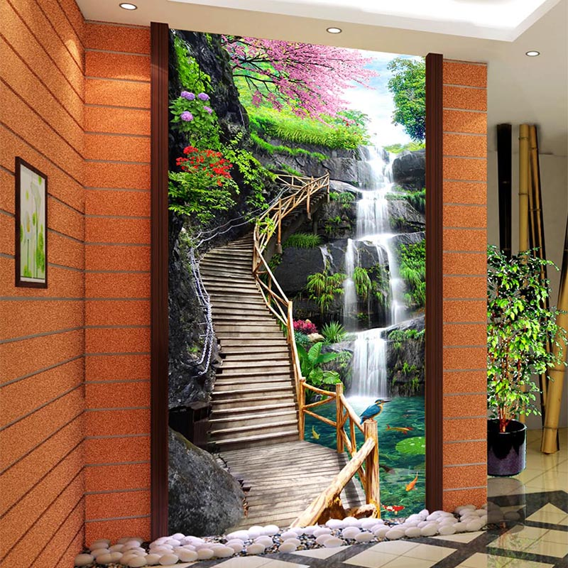 Custom Mural Wallpaper HD Waterfall Wood Bridge Nature Landscape Photo Wall Murals Living Room Hotel Entrance Decor Papel Murals