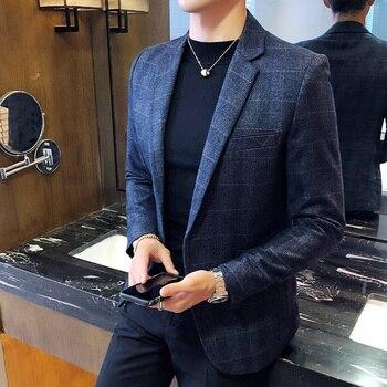 Vintage Plaid Blazer British Stylish Male Blazer Suit Jacket Business Casual One Button  Blazer For Men Regular Abrigo Hombre 1