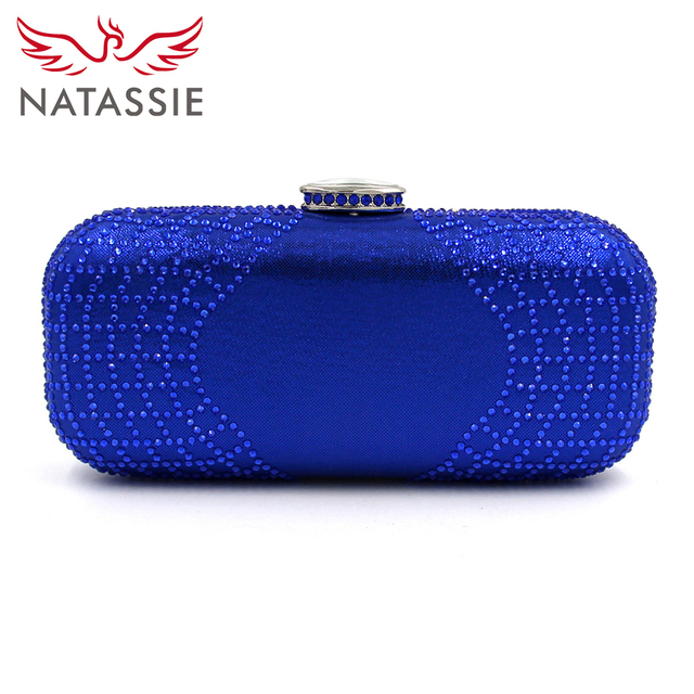 NATASSIE 2017 New Party Bag Women Evening Bags Gold Metal Box Ladies Wedding Clutches Diamond Day Clutch With Chain