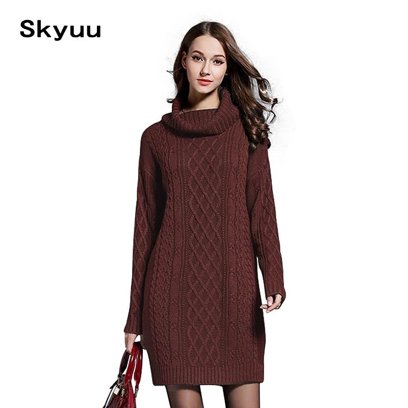 Women Winter Knit Dresses Europe Long Sleeve Turtleneck Casual Slim Warm Maxi Sweater Dress Plus Size Womens Clothing Punctual Timing Dresses