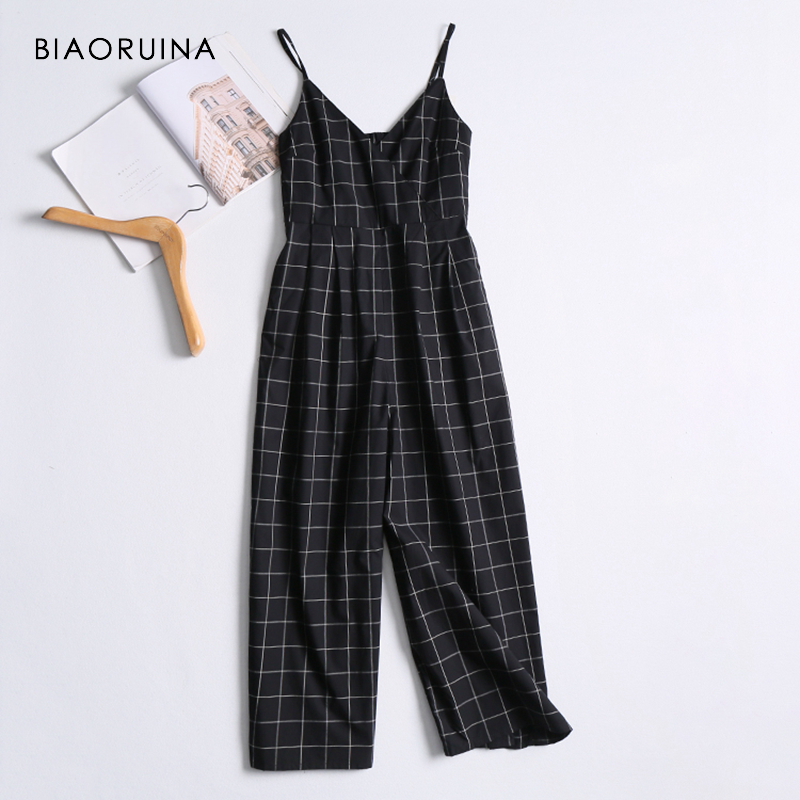 BIAORUINA Women Sleeveless V-neck Casual Loose Straight   Jumpsuit   Female Fashion Plaid High Elastic Waist Comfortable   Jumpsuits