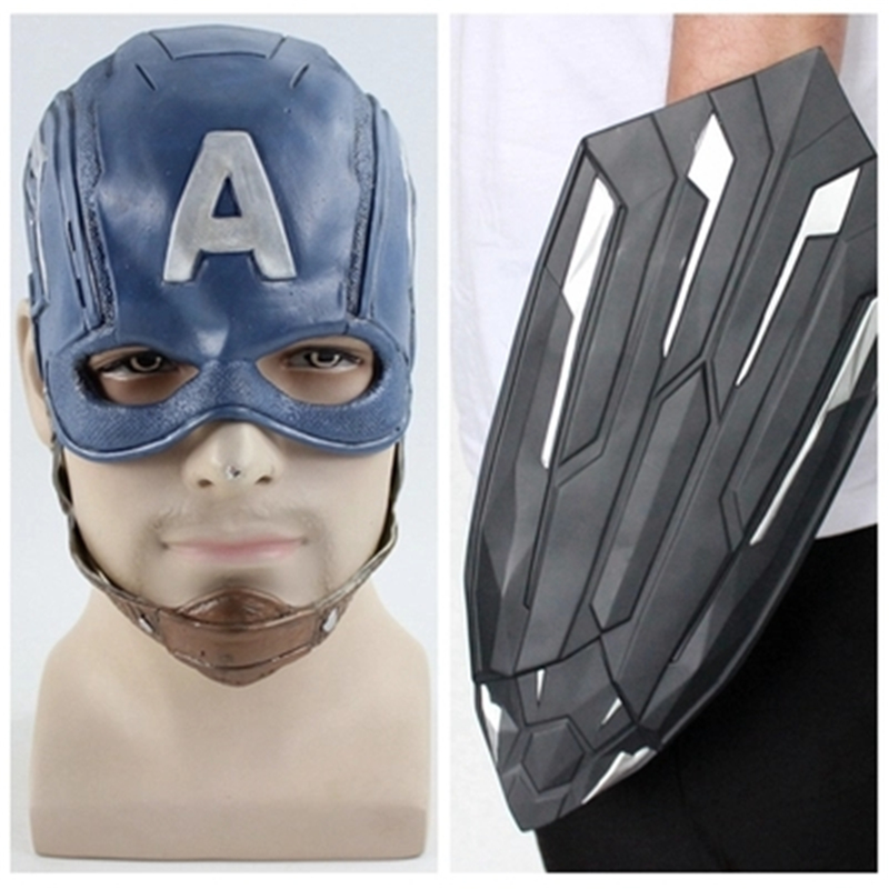 Anime Movie Captain America The Avengers Cosplay Costumes Mask With Handheld Shield Defensive Props Cosplay Accessories