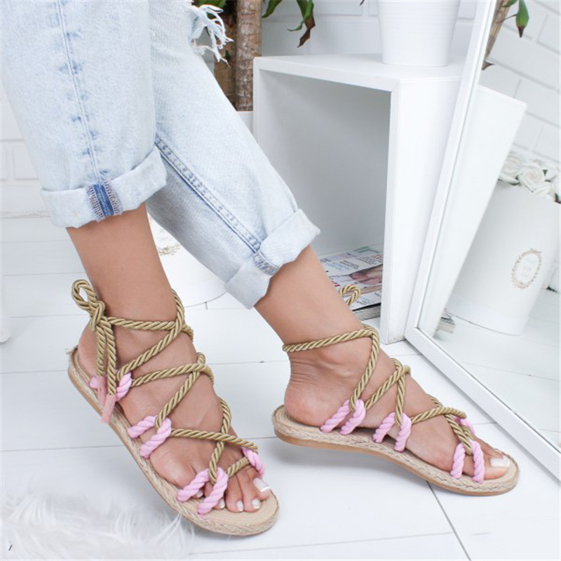 2019 Fashion Summer Women Sandals Flat Hemp Rope Lace Up Gladiator Sandals Non slip Beach Sandals Size 35 43 in Women 39 s Sandals from Shoes