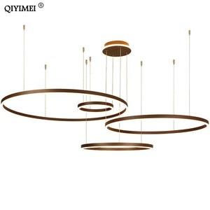 Image 5 - 現代のledペンダントライトリビングダイニングルーム調光対応サスペンション照明器具suspendu円形リングコーヒーhanglamp luminaria