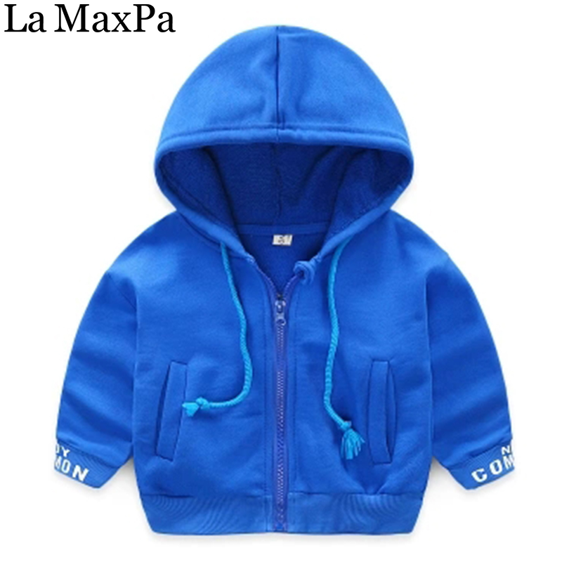 La MaxPa Childrens Clothing Letter Printed Hooded Outerwear Sweatshirt For Boys 2018 Spring Baby Boys Zipper Coats Hoodies