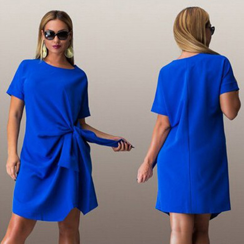 Detail Feedback Questions about Big size 6XL 2018 Summer woman dress fashion  bow solid patchwork Dresses Casual plus size women clothing 6xl Fat MM dress  on ... 2bf2ab69ea50