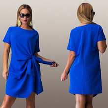 HOT Big size 6XL 2016 Summer woman dress fashion bow solid patchwork Dresses Casual plus size women clothing 6xl Fat MM dress
