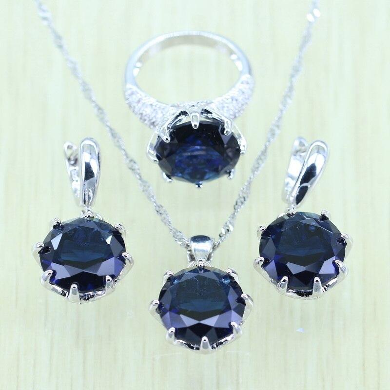 f6a958cc2e20 Click here to Buy Now!! 925 Logo Argent couleur Bleu Cristal Ensemble de  Bijoux Pour Les Femmes Boucles D